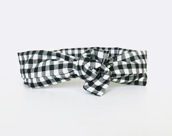 plaid, buffalo plaid, checkers, gingham, black and white plaid, fall, wire tie head wrap, twist dolly bow headband - one size fits all