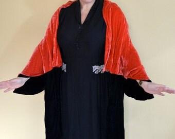 1920s Vintage Velvet Cape Cloak in Black and Watermelon Pink size S M L