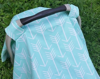Baby Car Seat Cover in Modern Arrows in Mint // Baby Car Seat Canopy // Baby Car Seat Tent // Mint //Aqua Arrows Baby Car Seat Cover