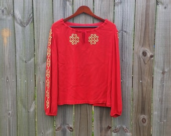 M L Medium Large Vintage Red Embroidered Peasant Festival Hippie Frida Ren Fest Faire Pirate Long Sleeve Blouse Shirt Top