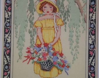 1920's art REBECCA, Cross Stitch Leaflet, little girl with basket of flowers, BEAUTIFUL by Dimensions  new