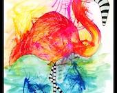Print Raining Color Flamingo
