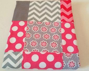 Baby Quilt-Modern-Girl-Chevron-Pink Gray Grey-Crib Blanket-Nursery Bedding-Patchwork-Cot Cradle-Handmade-Polka Dot-Trendy