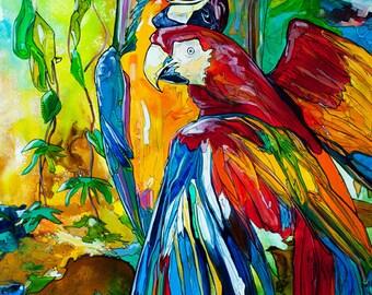 Parrot Gossip-Art by Jen Callahan Tile,Cuttingboard,Paper Print