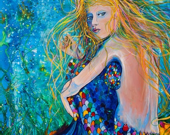 Mermaid Depth-Giclee by Jen Callahan Canvas Wrap