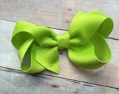 Lime green boutique hair bow - lime green hair bow, toddler bow, 3 inch bow, boutique bows, girls hair bows, girls bows, baby bows