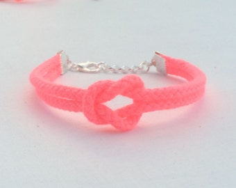 Adjustable Nautical Rope Knot Bracelet Florescent Pink Tie The Knot Bracelet Polyester