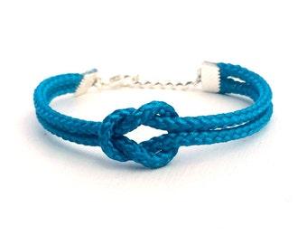 Adjustable Nautical Rope Knot Bracelet Shiny Turquoise Tie The Knot Bracelet