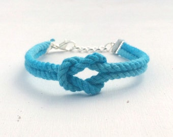 Adjustable Nautical Twisted Rope Knot Bracelet Aquamarine Tie The Knot Bracelet