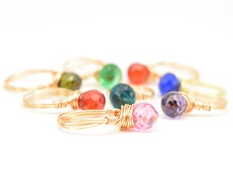 Candy Pop Ring | Wire Wrapped Ring | Gemstone Wire Ring | Stackable Ring