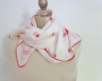 Canadian Olympic scarf.  1976. Canada maple leaf, red and white, sports scarves, Canadian scarf, olympics