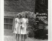 Old Photo 2 Teen Girls wearing White Dresses 1940s Photograph snapshot vintage