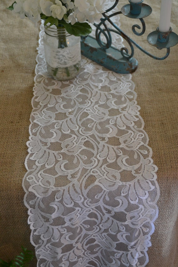 White lace table runner lace trim 9 5 wide choose by for 12 ft table runner