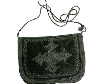 vintage moroccan velvet  embroidery bag  /  black