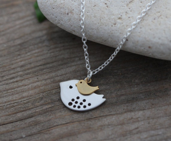 Mother bird and baby bird necklace