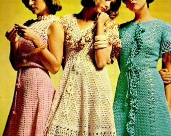 Vintage 70's CROCHET Maxi Dress PDF Pattern - Wedding Dress Pattern - Instant Download