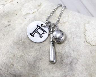 Softball Necklace - Baseball Necklace - Charm Necklace - Baseball Bat Necklace - Personalized Baseball Necklace - Monogram Necklace