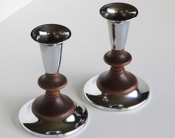 Kromex Chrome and Wood Candle Holders