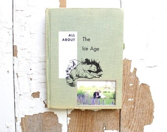 vintage book picture frame.  READABLE old book as unique photo frame. green, ice age, nursery decor, polar bear. All About the Ice Age, 1959