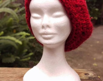 Crochet Red Chunky Slouch Beret