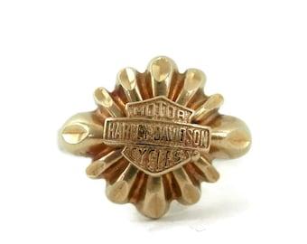 10K Gold Harley Davidson Ladies Ring