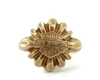 10K Gold Harley Davidson Ladies Ring Vintage Motorcycle Jewelry