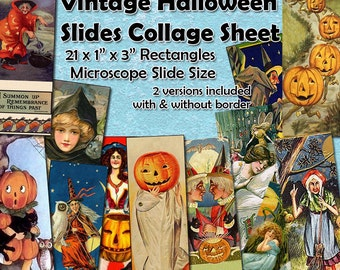 """Vintage Halloween Microscope Slides Digital Collage Sheet  -  1"""" x 3"""" sized rectangles  x 21 -  Instant Download Mixed Media Images"""