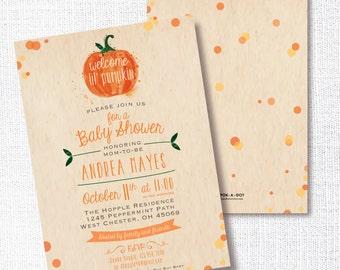 little pumpkin fall baby shower invitation - lil pumpkin gender neutral shower invite - fall baby shower