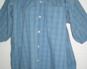 Peasant Blouse upcycled from a men's shirt, 54 inch, Large, blue plaid