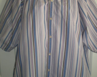 Peasant Blouse upcycled from a men's shirt, 56 inch chest, ladies xxL, lavender stripes