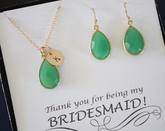 2 Monogram Bridesmaid Necklace and Earring set Emerald, Bridesmaid Gift, Green Gemstone, Gold, Initial Jewelry, Personalized, Teardrop Set