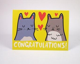 Cat congratulations card -  congratulations Card - Cat wedding Card - I like Cats - Cats - cats greetings card - wedding card - wedding