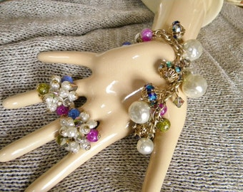 Chunky Sparkly 1960s Charm Bracelet & Clip Earrings Set- Pearls, AB Crystals, Magenta Blue Beads and Baubles!