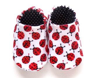 Ladybugs Baby Girl Shoes, Soft Sole Shoes, Slip on Baby Shoes, Ladybugs for Girls, Girl Crib Shoes, 0-6 mos Baby Booties, Baby Girl Gift