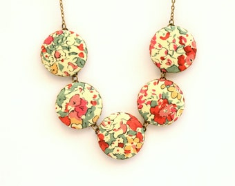Liberty of London Fabric Button Necklace in Claire Aude Red