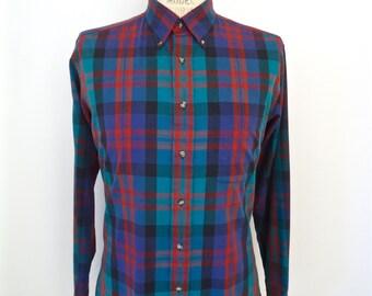 1980s Izod Plaid Button-down / vintage blue, green, red & black preppy pattern shirt / men's large