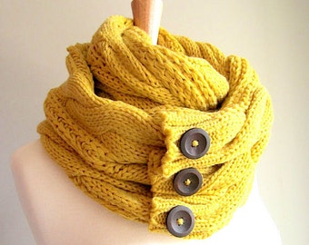Infinity Circle Loop Scarf Braided Cable Knit Neckwarmer Mustard Yellow Gold Scarves with Buttons Women Girls Accessories