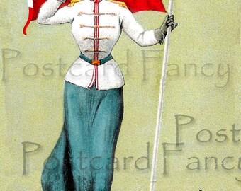 Vivid VINTAGE Postcard Flag Lady GERMANY, Instant DIGITAL Download