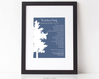 30th 40th 50th Wedding Anniversary Gift - Personalized Gift for Parents - Family Tree Art Print Poem - Wedding Grandparent Gift