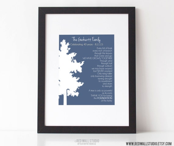 30th Anniversary Poems For Parents: 30th 40th 50th Wedding Anniversary Gift By RedWallStudio