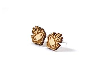 Mini stud earrings Reindeer - deer tiny post earrings - animal jewelry - minimalist jewellery - lasercut maple wood - surgical steel