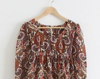 Vintage Paisley Long Sleeve Dress
