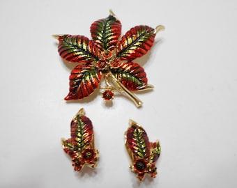 Vintage Christmas Demi Parure (1590) Brooch & Clip Earrings