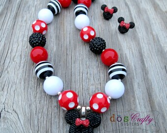 Mickey / Minnie Mouse Inspired Disney Traditional Black Red White Bubblegum Necklace