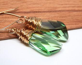 Peridot green bridesmaid earrings, Peridot crystal bridesmaid jewelry, Peridot bridesmaid jewelry gift