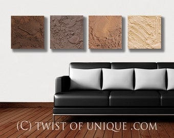 ORIGINAL Modern Painting  / 4 set painting ( 15 Inches x 15 Inches)  Concrete/ AcryliCrete/ Stone/ Industrial painting / Brown, mud, ivory