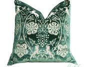 Stag Deer and Lion British Cut Velvet Green Pillow Cover - London Home Decor - European Embelished Pillow Cover - Designer Green Pillow