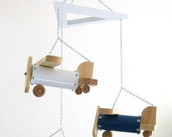 Oversized Airplane Mobile - Red, White and Blue with Natural Wood