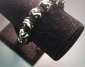 Black and White Unisex Tribal Macrame Shamballa Style Bracelet by MICH RICH (Tribal and True Collection)