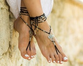 Gothic barefoot sandals Beach wedding anklets with dragons Beaded barefoot sandals Boho bottomless sandals Hippie footless sandles